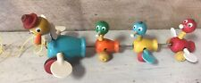 """Vintage 1950s Fisher Price Gabby Goofies Mama Duck & Babies 14"""" Wood Pull Toy"""