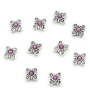 Silver Plated Metal Sliders Spacer Beads With Purple Swarovski Crystal 10 Piece