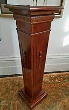 Pedestal Antique Mahogany Plant Sculpture Display Wooden Deco