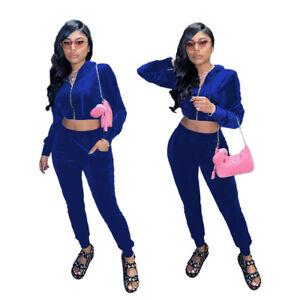 Hot Sale Stylish Women Long Sleeves Zipper Hoodie Bodycon Jumpsuit 2pcs Sport