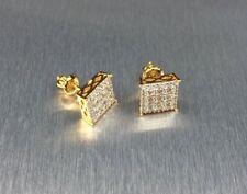 Mens & Ladies 18K Gold Filled 0.15 ctw Lab Diamond Screw Back Stud Earrings 10mm