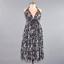 Lapis Anthropologie Women's Sun Dress Halter Top Backless White Black Floral Med