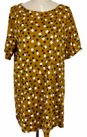 Virtuelle Womens Mustard Spotted Short Sleeve Blouse Plus Size S