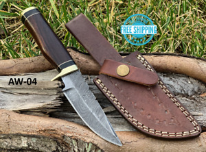 Custom HAND FORGED DAMASCUS STEEL HUNTING KNIFE Natural Wood Brass Guard Handle