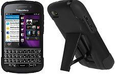 AMZER double couche hybride dur Armor Béquille cas pour BlackBerry Q10-Noir