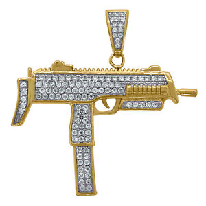 925 Sterling Silver Yellow-tone Mens Round Cubic Zirconia CZ Cluster Rifle Fashi