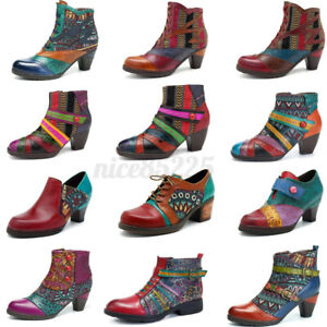SOCOFY Women Handmade Genuine Leather Block Ankle Boots Splicing Pumps Shoe