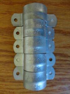 """Lot of 5 SCM 3/4"""" IPS Galvanized Steel Pipe Tube Strap 2 Hole Hanger Holder 5 Pk"""