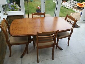 Strongbow Yew Extending Dining Table And 4 Chairs