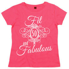 """50th Birthday T-Shirt """"Fit 50 & Fabulous"""" Ladies Women's Fifty Funny"""
