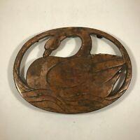 Vintage Brass Trivet Swan Design