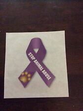 Dogs and puppies - Stop Animal Abuse Awareness Ribbon Static Cling Decals