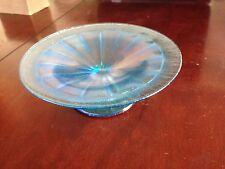 Iridescent Blue Aurene Footed Serving Tray Stretched Pulled Studio Art Glass