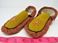 TRADITIONAL MOCCASINS, WARM & COMFY 9 INCH, RED, LINED, BEADED