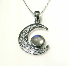 Funky 925 Sterling Silver Celtic Half Moon Pendant with Real Moonstone and Chain