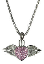 Cremation Jewellery - Memorial Ash Urn Pendant Keepsake Engraving - Winged Heart