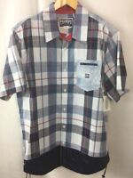 Parish Nation Shirt Size Large Navy Plaid Cotton Drawstring Hem A30