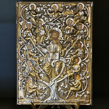 Greek Orthodox Handmade Byzantine Icon Sterling Silver 925 Tree of Life 26x36cm