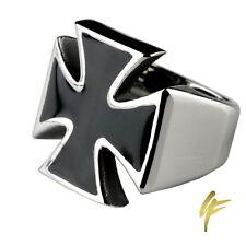 Edelstahl Herren Siegel Templer Ring | Schwarzes Eisernes Kreuz Silber Poliert