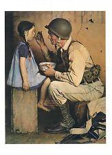 "Norman Rockwell WW2 print:""THE AMERICAN WAY"" compassionate GI feeds girl 11""x15"""