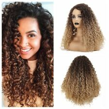 Synthetic Wig Afro Curly Wig Long Ombre Brown Blonde Wig for Women Cosplay Wig