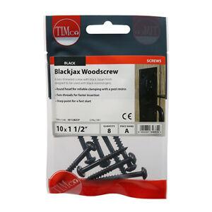 Blackjax Woodscrew - PZ - Round - Black 10 x 1 1/2