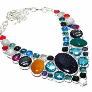 "Purple Sunstone, Blue Topaz Gemstone 925 Sterling Silver Jewelry Necklace 18"""