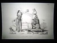 Incisione d'allegoria e satira Italia, Papa Pio IX Don Pirlone 1851