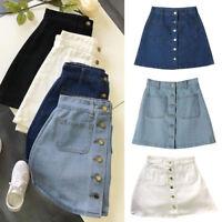 High Waist Button Denim Skirt Slim Pencil Short Mini Skirt Women Ladies NEW
