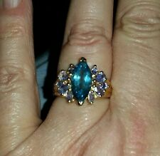 QUALITY NATURAL TANZANITE & LONDON BLUE MARQUISE TOPAZ 10KT GOLD RING 4 1/4 CTW
