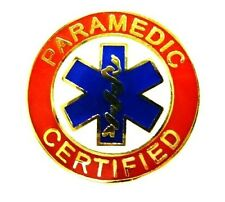 Paramedic Certified Collar Pin Device Gold Red Blue Star of Life Uniform 62G1