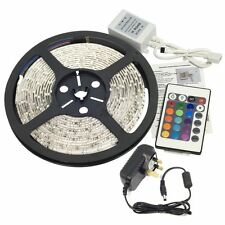 RGB 5m LED STRIP LIGHT KIT smd 3528 + Telecomando + Adattatore 12V NON-WATERPROOF Set