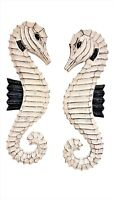 "Set of Two Coastal Nautical Wall Decor 19"" x 6"" HANDCARVED Wood Seahorses!"