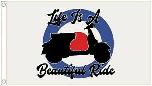 'Life Is A Beautiful Ride' Lambretta Scooter Mod 5'x3' Flag