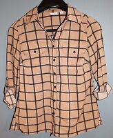 KIM ROGERS Black/Brown Plaid Button-Up Long-Sleeve Shirt (PS) - FREE SHIPPING!!!