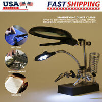 LED Helping Hand Clamp Magnifying Glass Stand 2.5X/7.5X/10X Lens Magnifier Tool