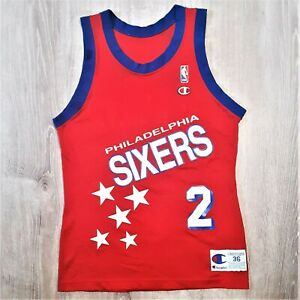 Moses Malone Philadelphia 76ers Champion Jersey VTG 90s NBA USA 36 Small RARE
