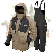 Frogg Toggs Stone/Black Firebelly Jacket & Black Toadskin Bibs Rain Suit Gear XL