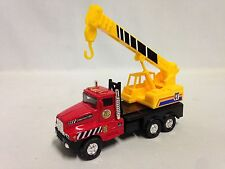 "Construction Truck w/Crane, 5.25"" Diecast, Pull Back Action, Toys, Red/Yellow"