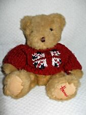 Harrods Knightbridge Teddy Bear w/Red Sweater Plush Stuffed / Light Brown