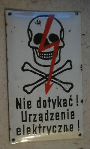 Polish DEAD SKULL VINTAGE ENAMEL PORCELAIN Do no touch electricity