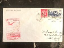 1939 Marseille France First Flight Airmail Cover FFC to Usa Via Azores Portugal
