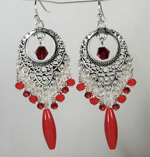 Red Crystal Silver Chandelier Earrings Handmade USA HANDMADE Boho USA HANDMADE