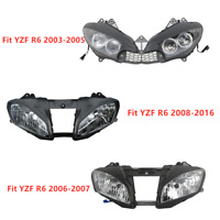 Black Front Headlight Headlamp For Yamaha YZF R6 YZFR6 YZF-R6 03-05 06-07 08-16