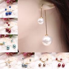Women Girls Fashion Charming Double Pearl Drop Dangle Long Earrings Gift
