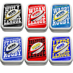 Personalised Rugby League Tobacco Tin Retro 2oz Baccy Pill Box Gift ALL TEAMS