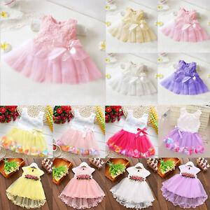 Baby Flower Girls Tutu Tulle Dress Princess Party Lace Wedding Bridesmaid Dress