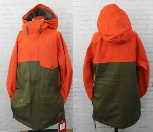 Bonfire Wakeena Snowboard Jacket, Men's Medium, Paprika Orange / Green New