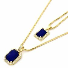 "14k Gold Plated Iced Mini Blue Ruby CZ Pendant Set w/ 2mm 24"" & 30' Rope Chains"