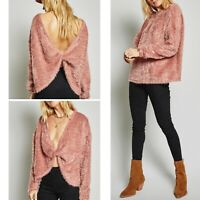 NWT $70 Sage The Label Women's Rose Pink Fuzzy Twisted Sweater Size Small